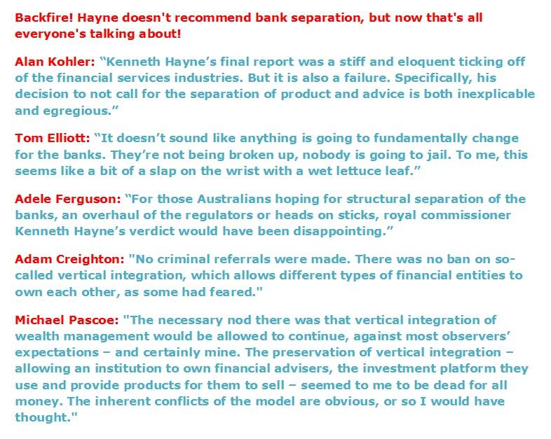 Banking Royal Commission Backfire
