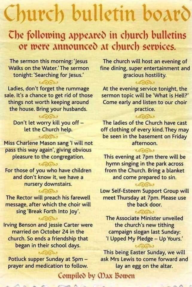 Church Bulletin Board Humour