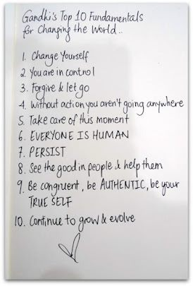 Gandhi's Top 10 Fundamentals to Change the World