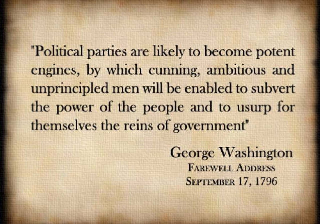 George Washington On Political Parties