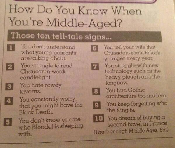 How To Tell When You Are Middle-Aged