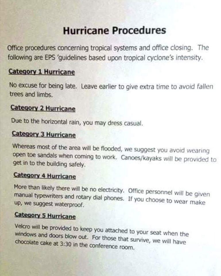Hurricane Procedures