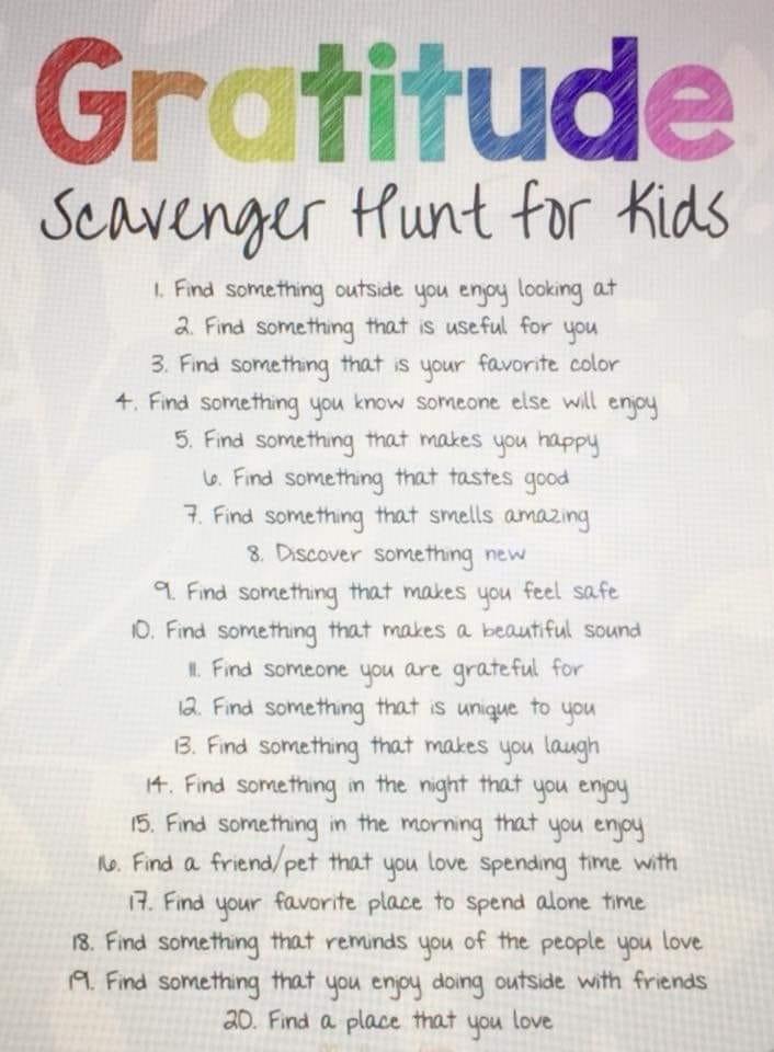 Kids Gratitude Scavenger Hunt