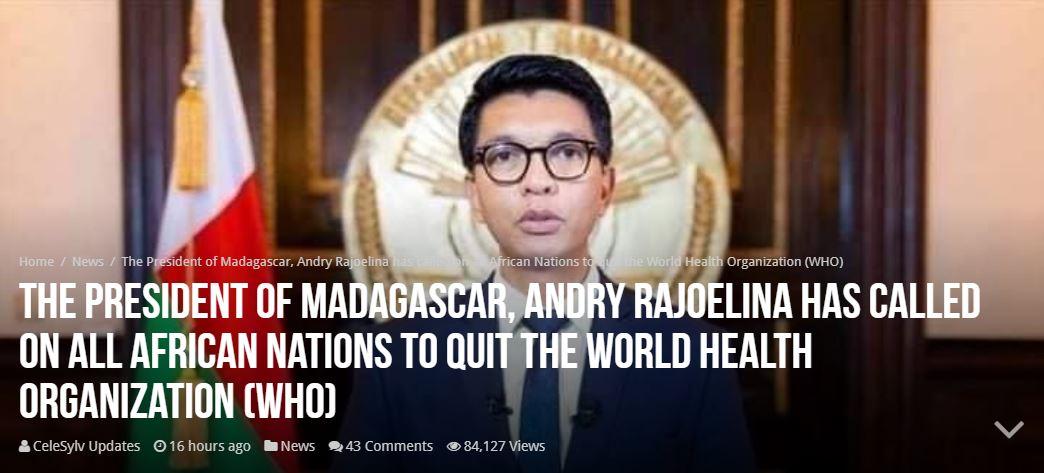 Madagascar Pres Quit WHO