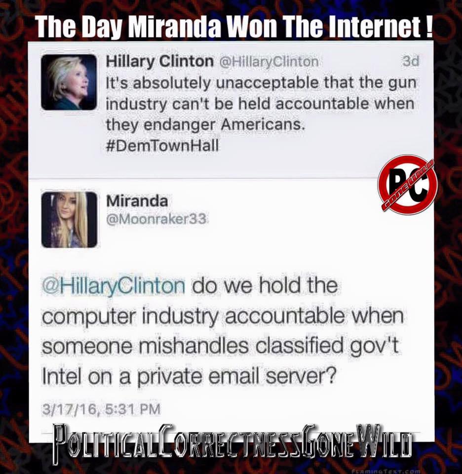 Miranda 1, Hillary 0