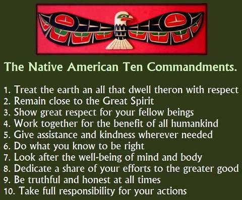 Native American !0 Commandments