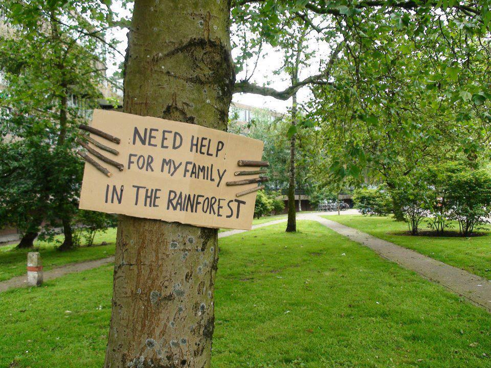 Tree sign: Need help for my family in the rainforest