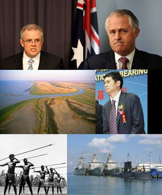 clockwise from the top) Morrison, Turnbull, Xingfa Ma, Navy ships in the Port of Darwin, Arnhem Land warriors, Woollogorang station coastline