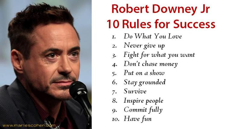 Robert Downey Jnr 10 Rules For Success
