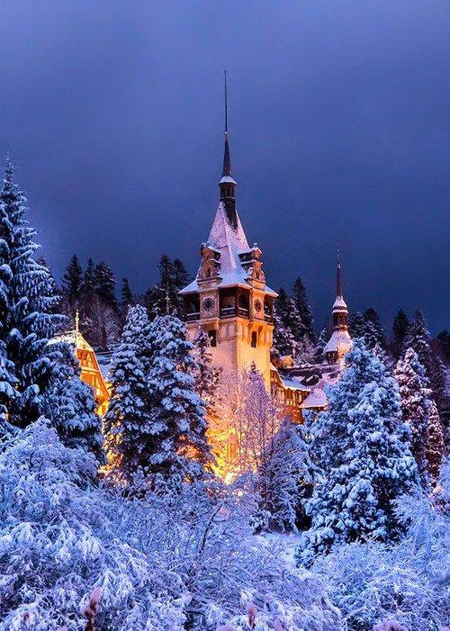 Snowy Night Peles Castle Romania