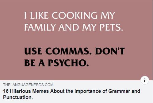 Use Commas, Don't Be A Psycho!