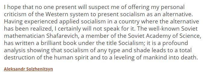 Sokzhenitsyn On Socialism