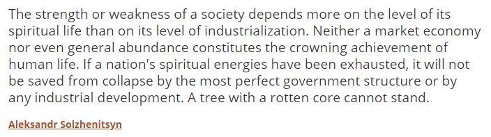 Solzhenitsyn On Spiritual Energy