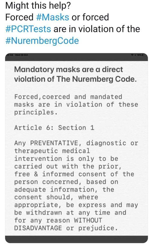 Mandatory Masks Violate The Nuremberg Code