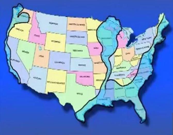 Map Of USA New Coastline